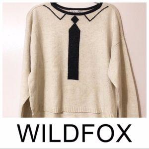 Wildfox   Tie Dinner Party Silk Blend Sweater Top